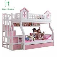 Луи мода Верхняя и нижняя двойные родитель и ребенок комбинированные кровати для средиземноморских детей