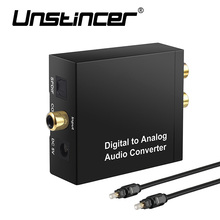Digital to Analog Converter Digital Optical Coaxial Toslink Signal to Analog Audio Converter Adapter RCA L/R with Optical Cable