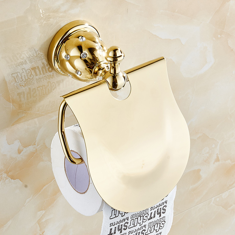 Gold Toilet Paper Holder with diamond Roll Holder Tissue Holder Solid Brass Bathroom Accessories Products Paper Hanger 5208