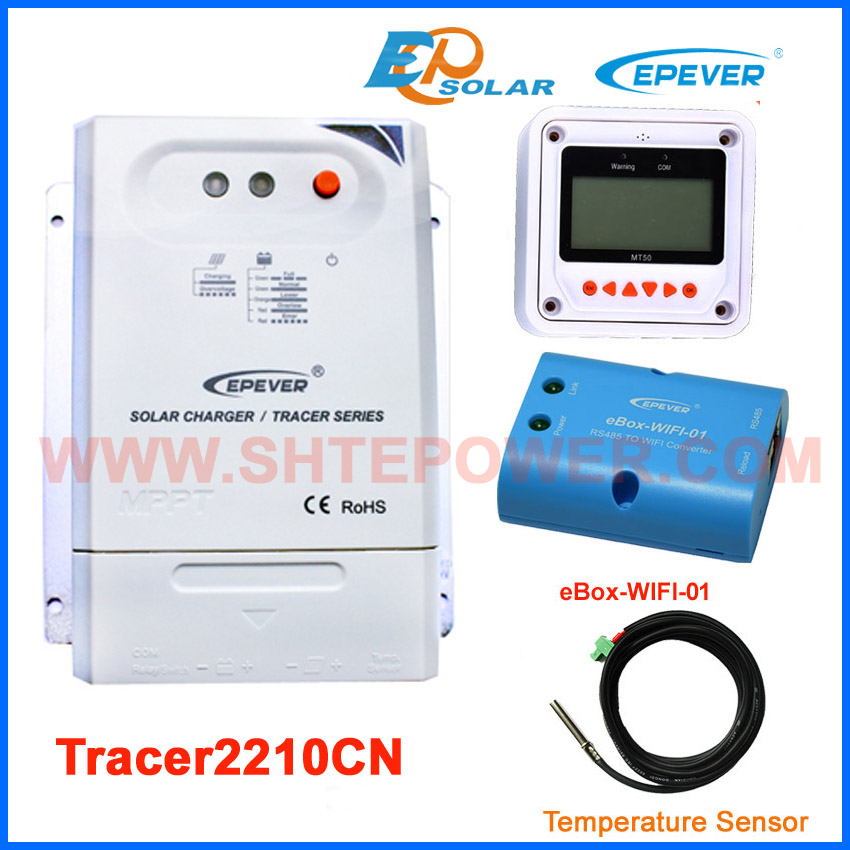 solar controller wifi function for APP use 20A 20amp MPPT EPEVER Tracer2210CN MT50 meter and sensor cable solar 24v 20a 20amp battery charger controller epever brand product tracer2215bn temperature sensor wifi function and mt50 meter