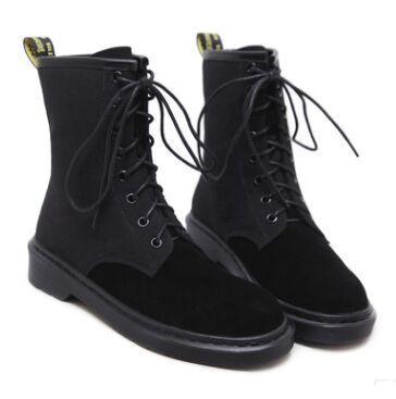 Новый Женские ботинки Martin в английском стиле Для женщин кожа плоская трубка мотоботы высокого качества