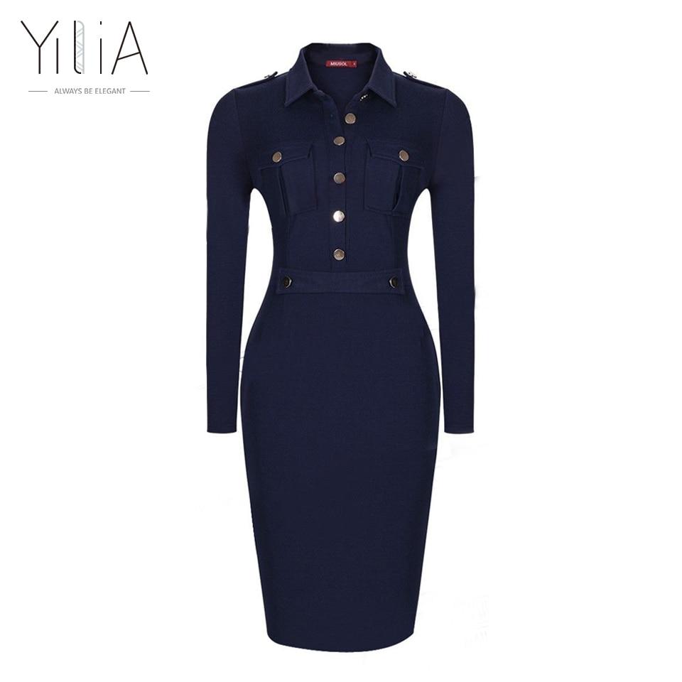 Navy Blue Dress Women Long Sleeve Vintage Formal Office Dress Slim Bodycon Midi Button Pocket Dress