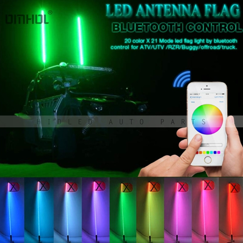 1pc Smart Phone Bluetooth App Control RGB LED Safety Whips Light For SUV ATV UTV Off-road Camp Locator Flag Light camp safety otto wings black 32kn