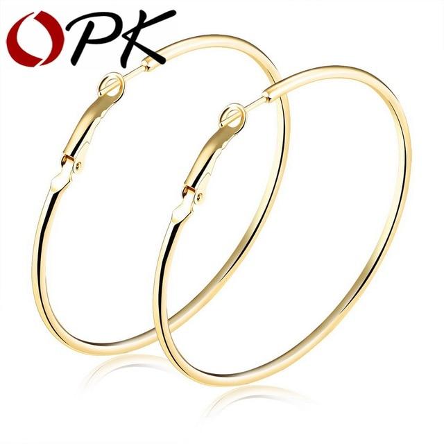 646f60eb1bbb OPK exageró aro redondo aretes para las mujeres suave diseño oro color s m