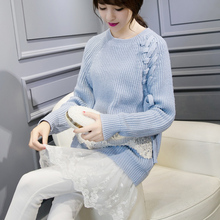 Autumn New Women Pullover Round Neck Sweater Female Casual Loose Sweater Long Sleeved Lace Stitching Pullovers