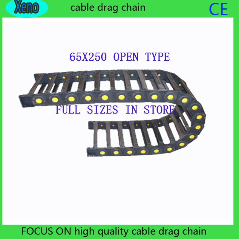 Free Shipping 65*250 1 Meter Bridge Type Plastic Towline Cable Drag Chain Wire Carrier With End Connects For CNC Machine