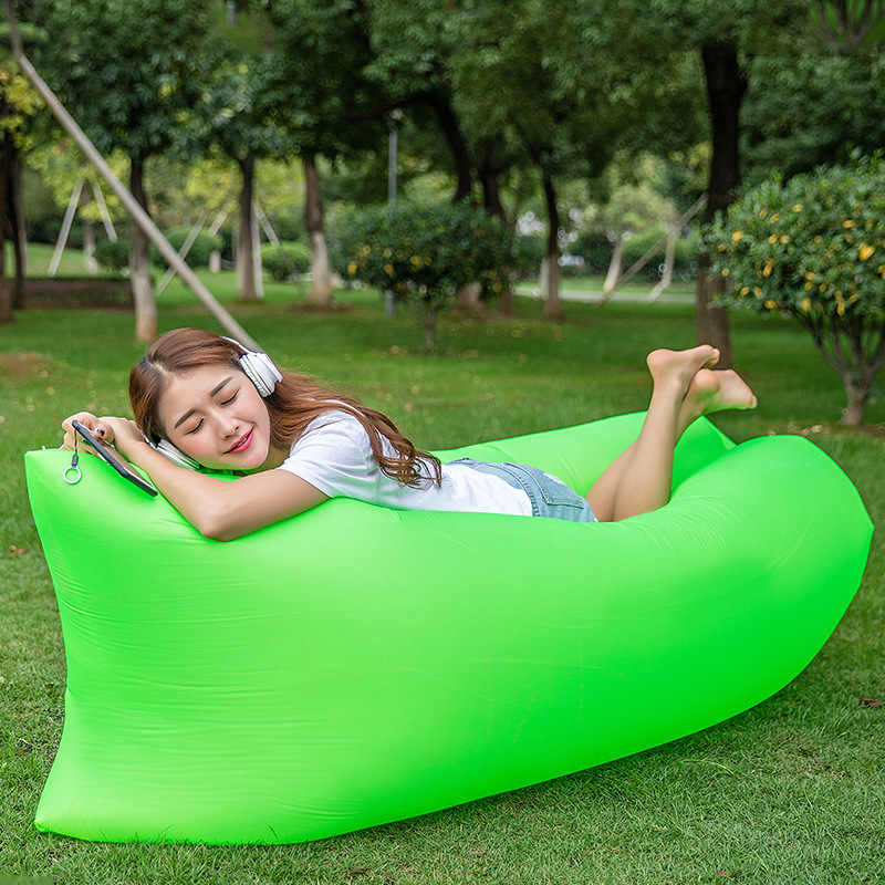 Inflatable Lazy Couch Outdoor Folding Air Sofa Bed Portable Beach Lounge Outside Garden Furniture Camping Sleeping Bags