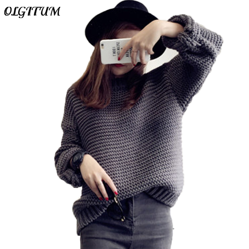 Women Sweater Thick Coarse Wool Knitted Lantern Sleeve Tops Fashion Casual For Spring Autumn Winter Knitted