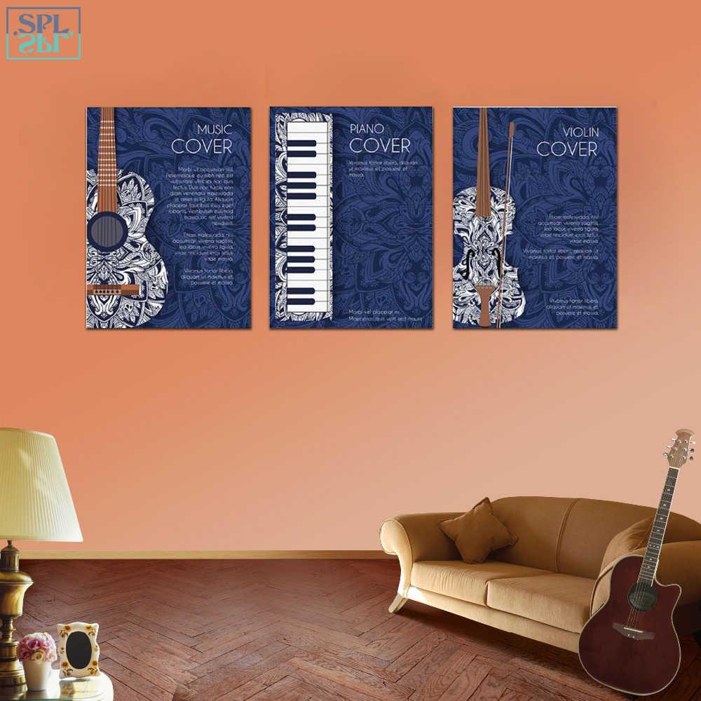 SPLSPL Blau TV Hintergrund Musical Instruments Wand Bild Leinwand Kunstdruck Poster und Gemälde Für Wohnzimmer Decor Gerahmte