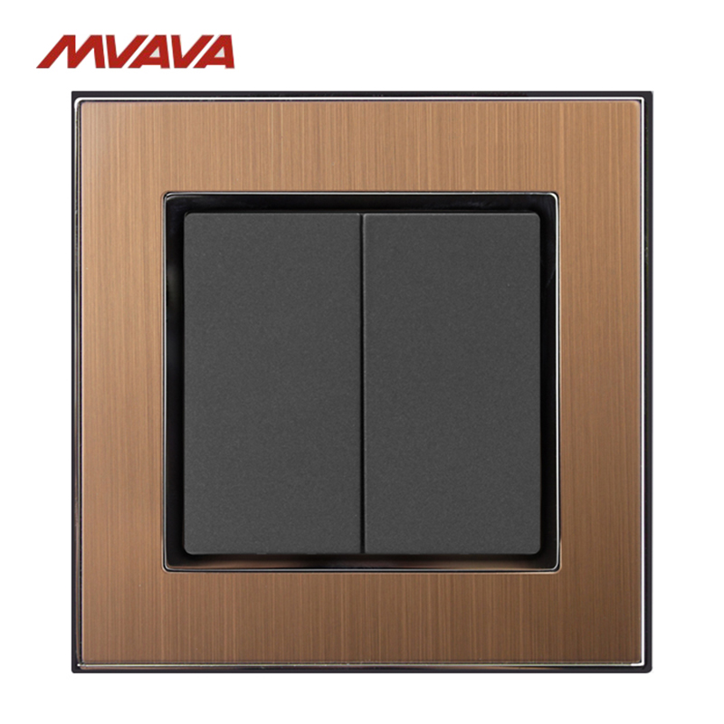 MVAVA 2 Gang 1/2 Way Push Button Lamp Wall Light Switch Luxury Decorative Gold Metal Electrical Control 110-250V Free Shipping usb thermostat temperature control push button switch timer switch third gear with led light line 5v 2 5a