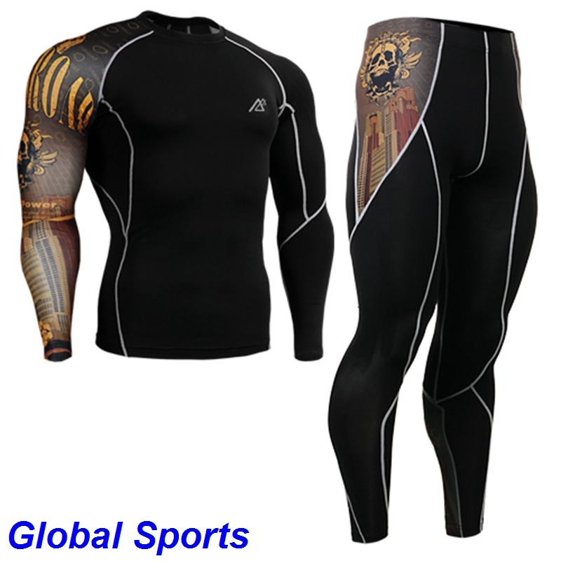 2017 Gold skulls Print men running suits Yoga Sets Sports Fitness Clothes Set For men spandex Workout Clothing Two-piece Suit