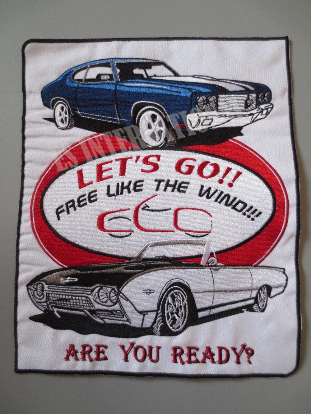 11.6 Inches Cars Grote Borduurwerk Patches Voor Jacket Terug Vest Motorfiets Club Biker Mc Naai Let's Gaan! Gratis Als De Wind!
