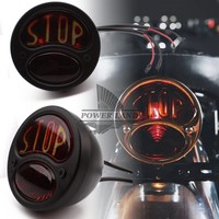Motorcycle High Power Black Metal Retro Rear Brake Tail Stop Light Universal Fit For Harley Bobber