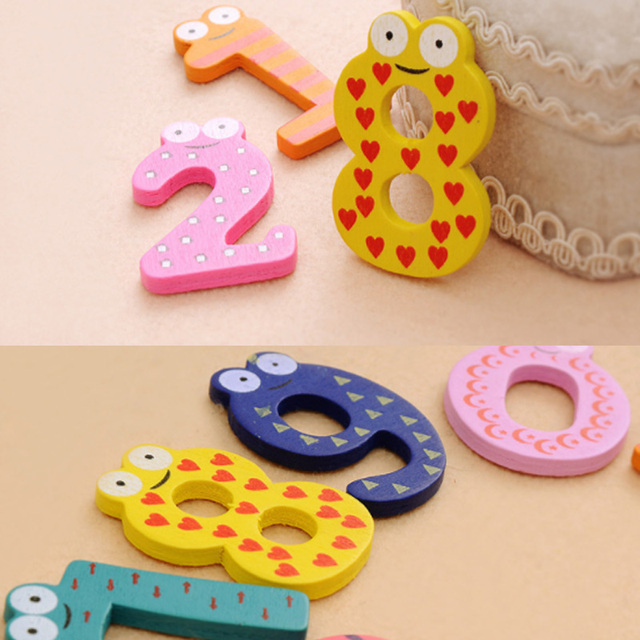 Party Gift Home Decor Multicolor  Wooden Fridge Magnet Educational Toy Symbol Alphabet Numbers  Cartoon Baby Kid  3