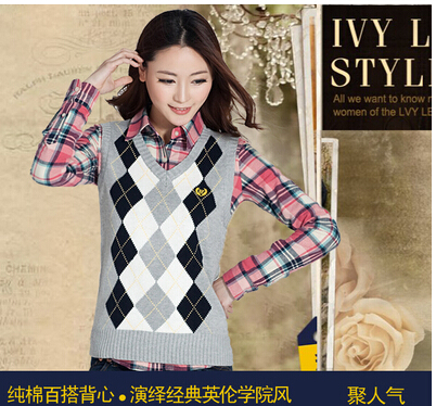 Free shipping women's cotton sweater female British college ...