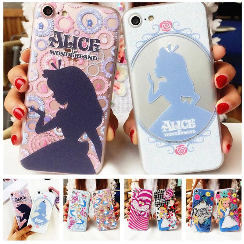 Alice de la historieta cajas del teléfono para iphone 7 7 plus 6 s 6 Alice in Wo
