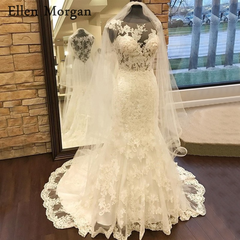 eb3213c01dcc9 Sexy Summer Mermaid Wedding Dresses 2019 Cheap Beach Garden Illusion Sheer  Neck Lace Appliques Court Train ...