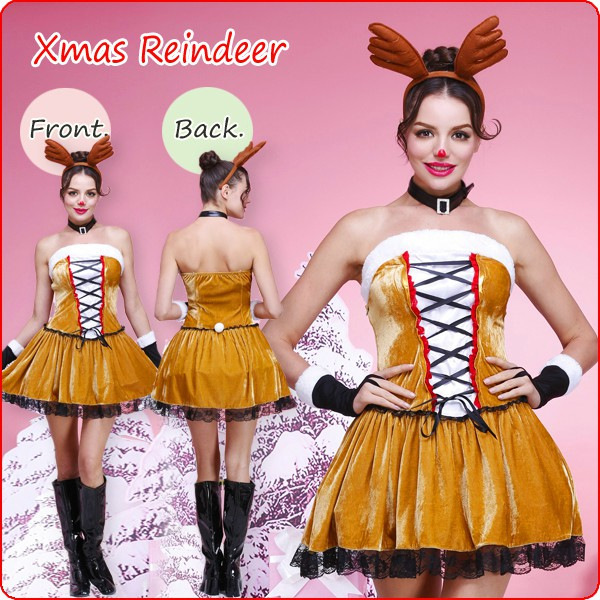nueva seora traje de la navidad del reno cosplay mujeres navidad helloween disfraces party outfit