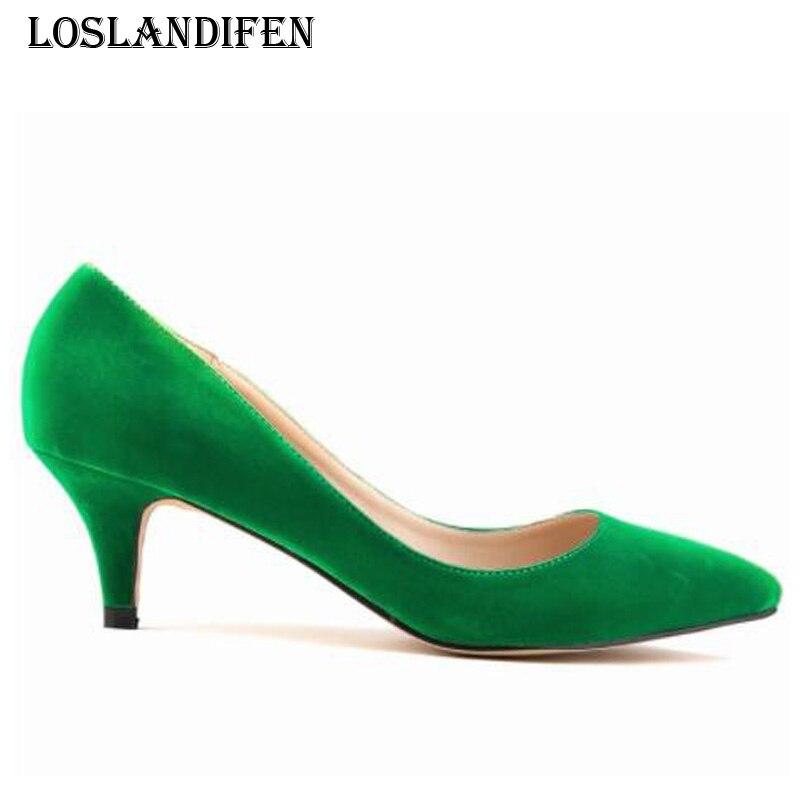 Подробнее Обратная связь Вопросы о Loslandifen женщин сплошной цвет замши  партийные туфли на каблуках мода плюс размер 35 42 дамы острым носом тонкий  каблук ... 5f1030dcc81
