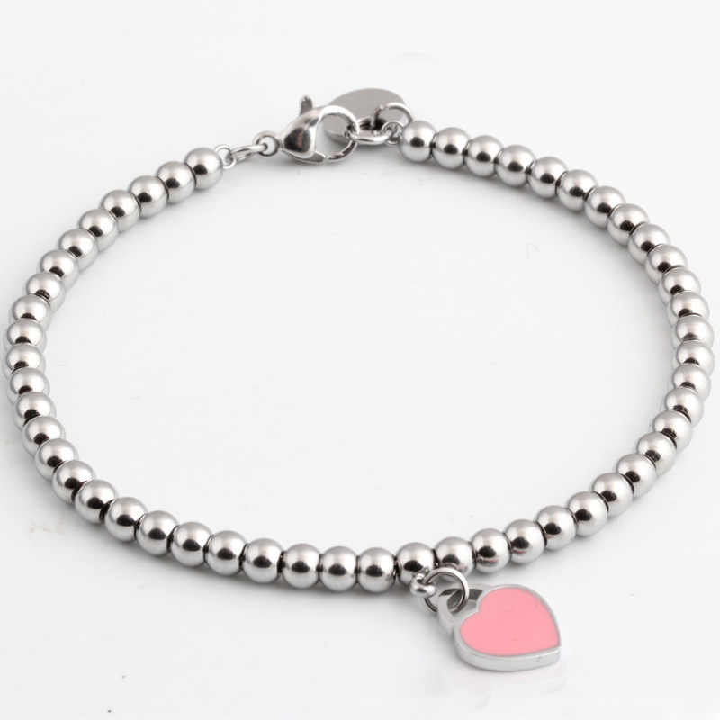2019 stainless steel beads women bracelet gifts Girl womens jewelry accessories chain heart Pink original personalized bracelets