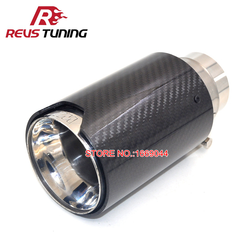 1PC ID 60mm 63mm OD 90mm Car Racing Style Exhaust Muffler Pipe Tip Carbon Fiber Exhaust