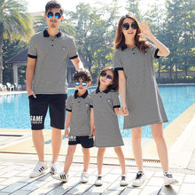 Matching Family Outfits 2019 Summer Cotton Striped Mother And Daughter Dress Father and Son T shirts Family Looking Clothes(China)