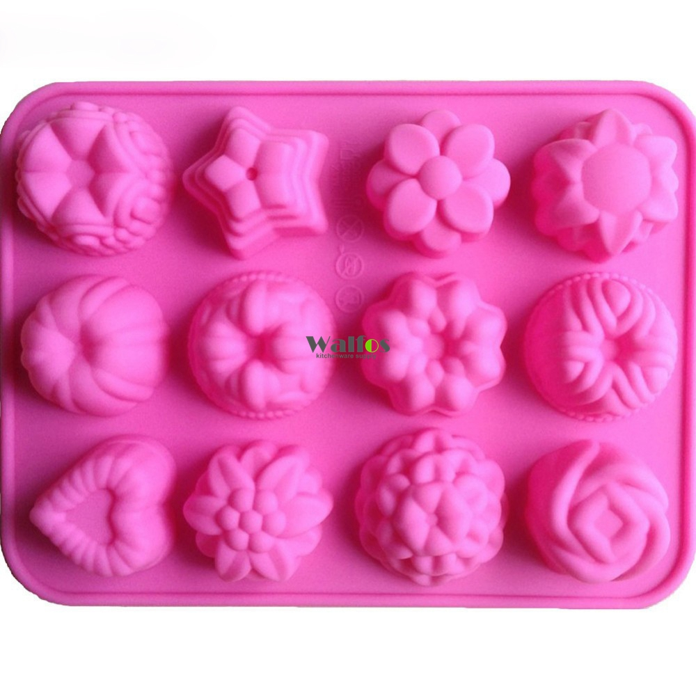 Walfos Gratis Pengiriman 1 Pcs Flower Fondant Kue Pan Permen Sabun Pelet Ikan 781 Eceran Kg Silicone Mold Baking Cake Decoration