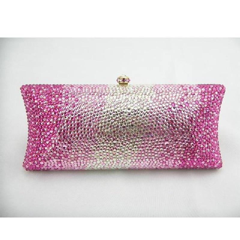 ФОТО S7735C Crystal PINK in Gradual change effect Lady fashion Bridal Metal Evening purse clutch bag case box handbag