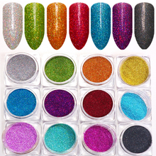 12 colors 1 set 1mm diameter Pearlescent glitter Holographic Nail Glitter Decorations bright color Dust Powder