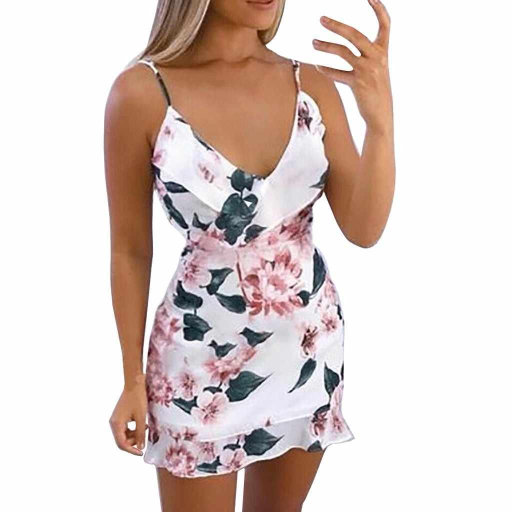 ผู้หญิงเซ็กซี่ V คอฤดูร้อนดอกไม้พิมพ์ Strappy ชุดมินิสุภาพสตรี Ruffle ฤดูร้อน Beach Party Dresses ชุดลำลองชายหาด