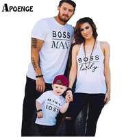 APOENGE Family T-Shirts 2017 Summer Woman Casual BOSS Funny Letter Printed White T Shirt Femme Tops Family Matching Outfit QN161