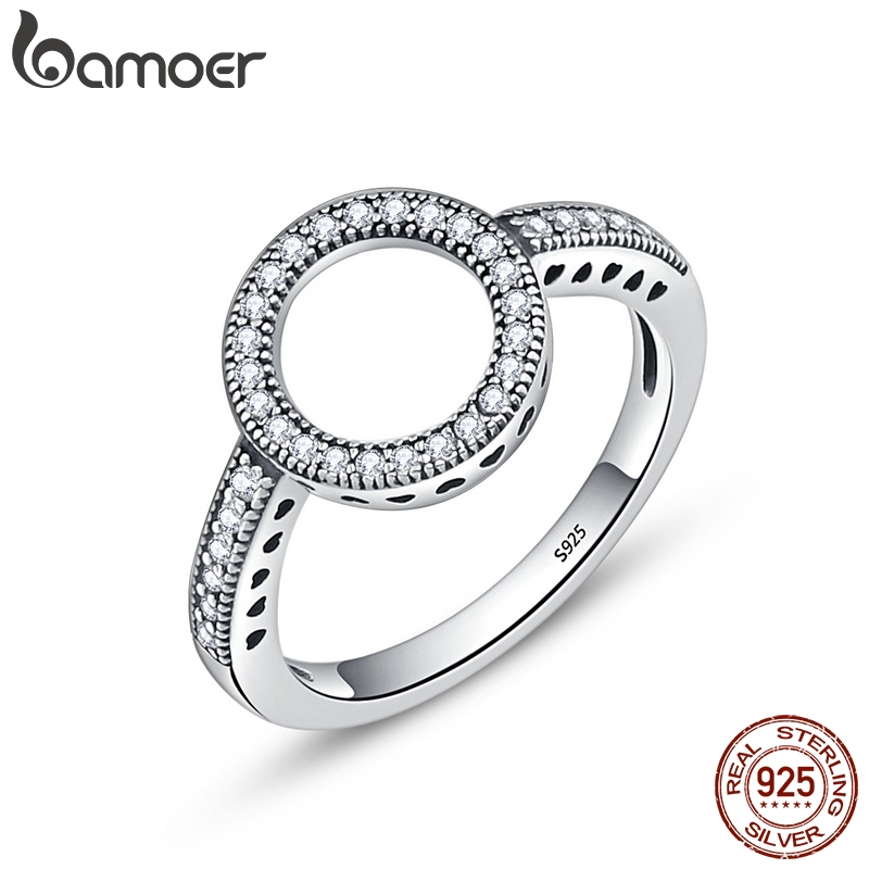 BAMOER 100 Genuine 925 Sterling Silver Forever Clear Black CZ Circle Round Finger Rings for Women