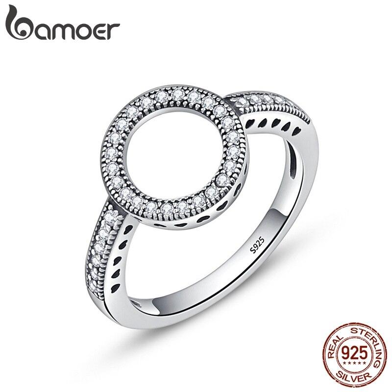 BAMOER 100% Genuine 925 Sterling Silver Sempre Limpar CZ Preto Círculo Rodada Anéis de Dedo para As Mulheres Presente de Natal Jóias SCR041