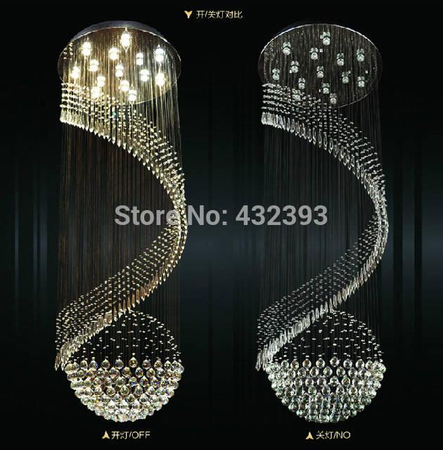 Modern Large Spiral Crystal Chandelier Lustre De Crystal