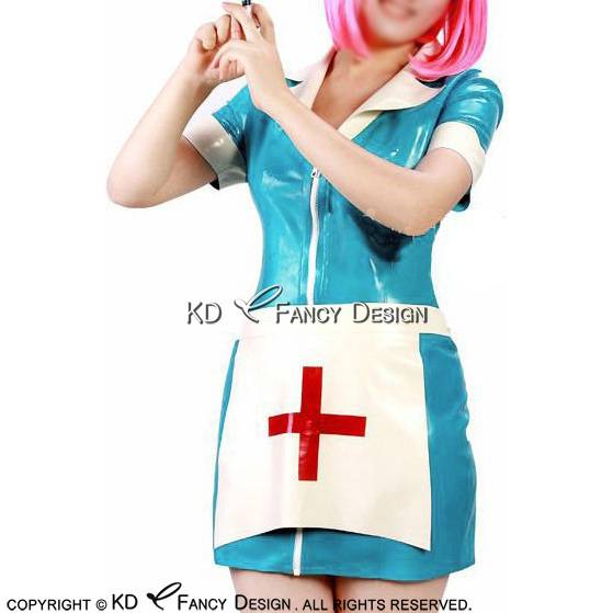 Lake Blue Sexy Latex Nurse Uniform Sets Rubber Dress With Apron And Cross Zipper At Front Latex Dress Lyq 0121