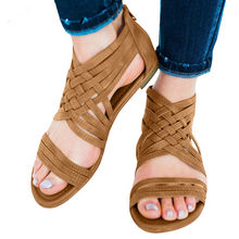 Vintage Women Open Toe Breathable Beach Zipper Sandals Rome Casual Flat Shoes rain boots women ankle #g8(China)