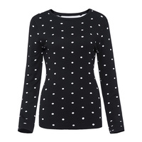 Sisjuly New Autumn Winter Casual Thick Female Patchwork Black Sweater Outerwear O Collar Street Wear Pullover