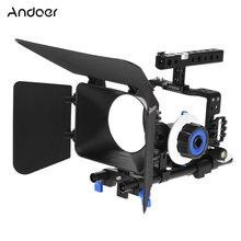 99908debf Andoer professional video camera gaiola rig kit filme que faz o sistema w 15mm  haste ff follow focus matte box para sony a6000 a.