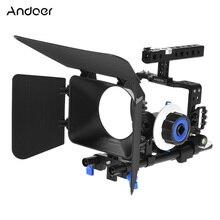 Andoer profesyonel kamera video kafes rig kiti film yapma sistemi w/15mm çubuk takip odak ff mat kutusu için sony a6000 a6300 a6...