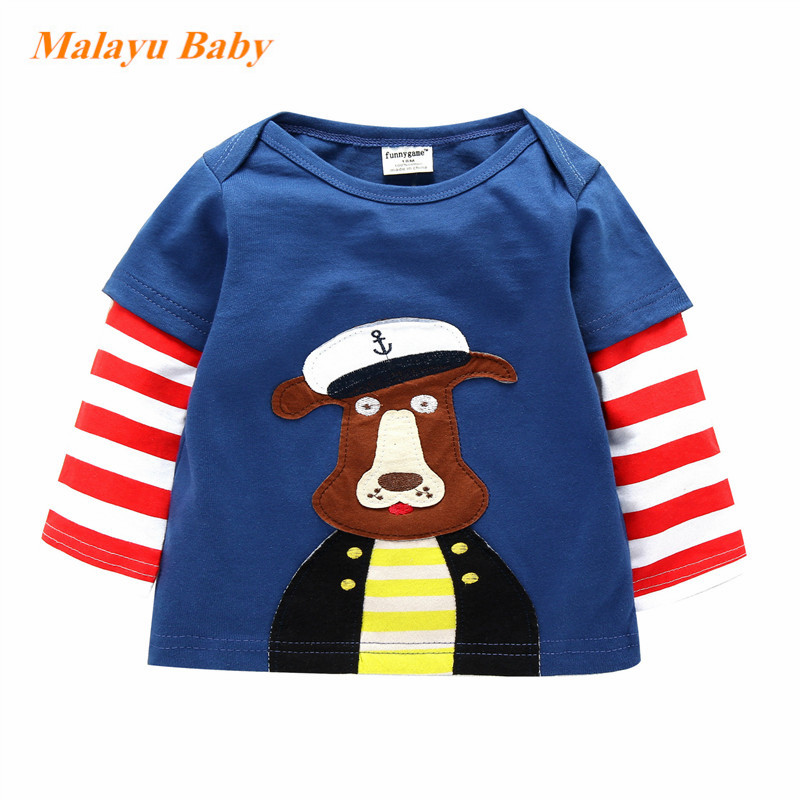 Malayu baby 2018 spring and autumn fashion brand children t-shirt boys and girls striped five-pointed star long-sleeved sweater