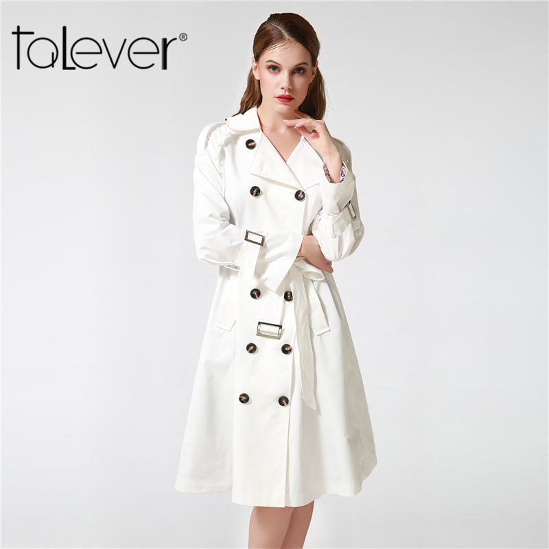 2017 Autumn Fashion Women Trench Coats Elegant Plus Size Long Black White Women's Windbreaker With Sashes Talever Female Outwear