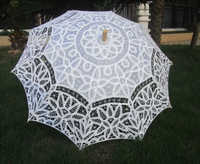 New Arrival! white Lace Parasol Umbrella for wedding Bridal full batten Belgian H108