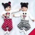 Nova Primavera Outono Menina Roupa Do Bebê Do Algodão Roupa Do Bebê Set (Romper + Calça + Chapéu) Bebê Recém-nascido Menino roupas Roupas De Bebe