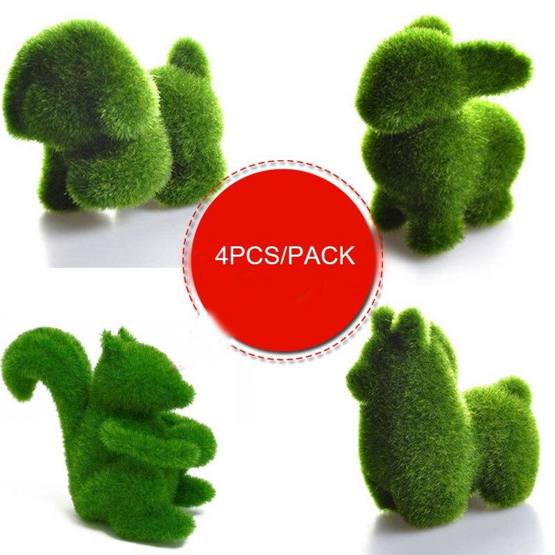 4pcs pack artificial grass animals grass land garden for Artificial grass decoration crafts