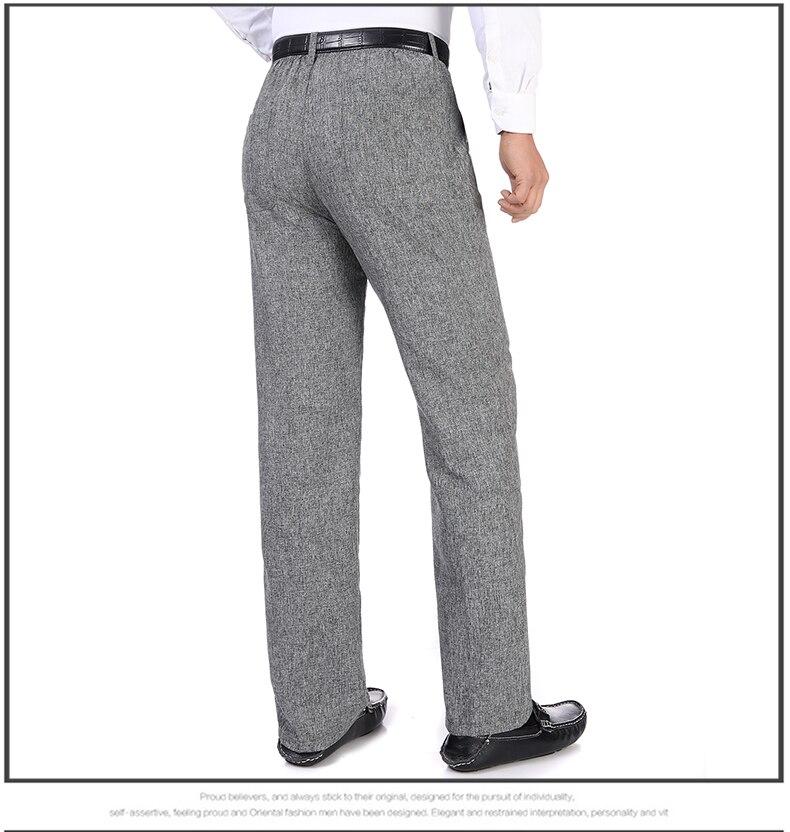 Summer Spring Man Linen Pant Dark Gray Business Casual Trouser Male Plus Size Elastic Band Waist Pantalones Homme Office Pant Plus Size (11)