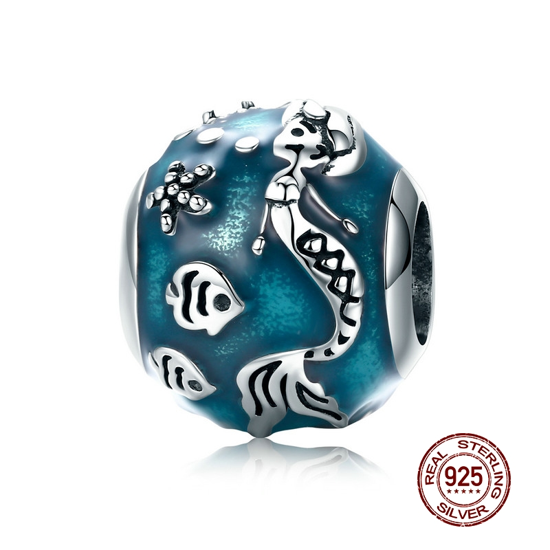 Beads Mowimo 100% 925 Sterling Silver Blue Mermaid Charm Round Beads Fit Original Pandora Bracelet Pendant S925 Jewelry Making Bkc819 Modern Design Jewelry & Accessories