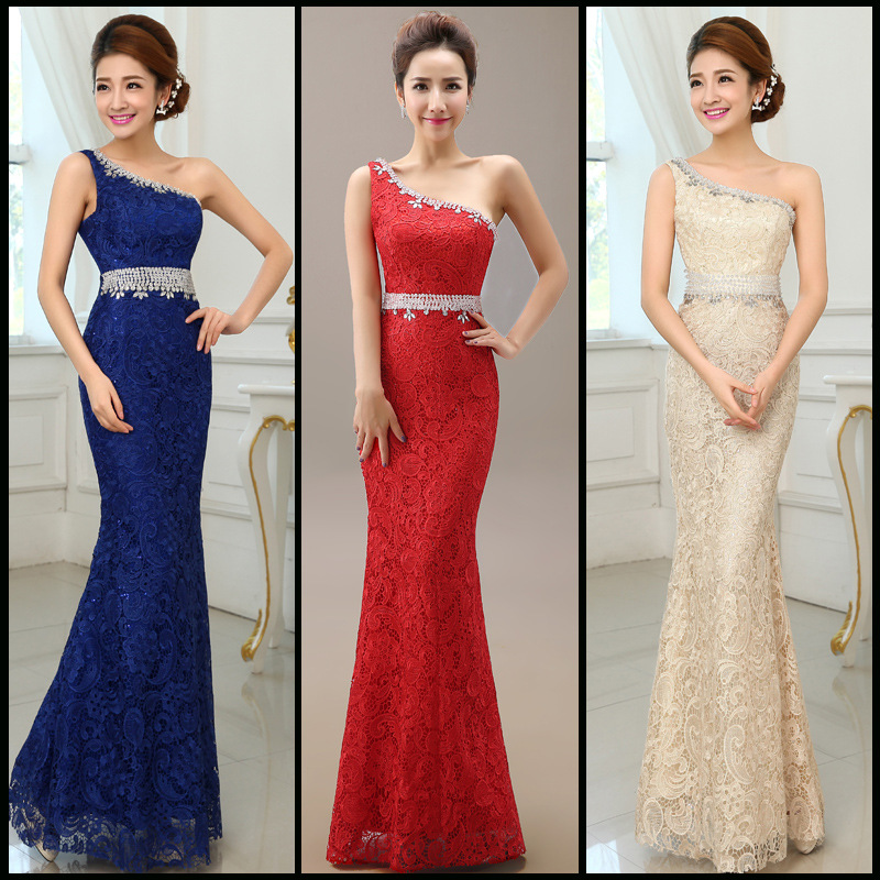 b64d0cc968e Formal Evening Dresses Vestido De Festa One Shoulder Lace Long ...