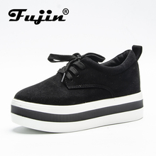 Fujin Brand Flock Thick Sole Platform Flats Female Shoes For Women shoes sneakers creeper spring autumn summer Loafers