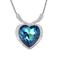 Trái Tim màu xanh Đá Big Vòng Cổ Mặt Dây Chuyền Made Với SWA Tố Áo Pha Lê Những Người Yêu Thích Bạn Gái Choker Vòng Cổ Couples Jewelry