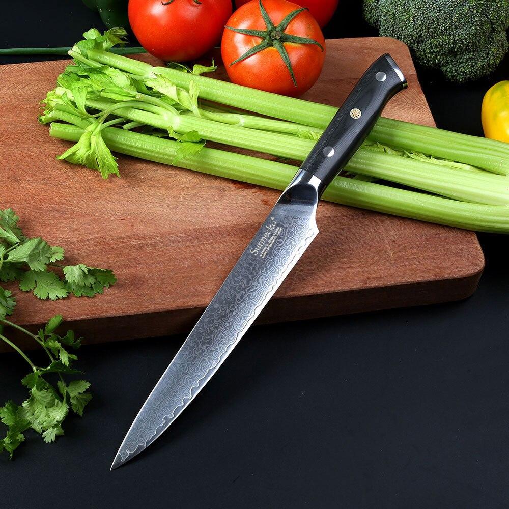 """2017 SUNNECKO 8 """"pulgadas Cuchillo Sashimi Cleaver Cuchillo japonés VG10 Núcleo de acero Maquinilla de afeitar Cortar la cocina Damasco Cortar G10 mango"""